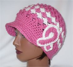 Crochet Brim Hat- Breast Cancer awareness Pink by theedgeof17,