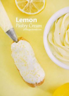 Lemon pastry cream is a delicately flavored cream for filling éclairs, cakes, pies, doughnuts, trifles, and more.