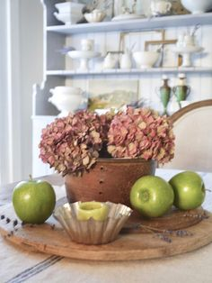 Chateau Chic Fall Vignettes, Dining Room Hutch, Autumn Display, Pie Safe, White Towels, Vintage Ornaments, Dried Flowers, French Vintage, Decorative Items