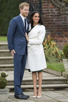 Today: Meghan Markle, 36, wore a favourite pair of Aquazzura heels as she joined Prince Harry, 33, for the engagement announcement in the grounds of Kensington Palace today