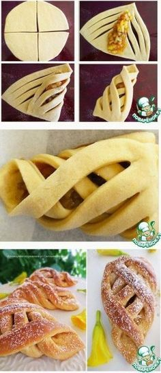 interesting and pretty pastry design Pastry Recipes, Bread Recipes, Dessert Recipes, Eclair Recipe, Cinnamon Twists, Pastry Design, Bread Shaping, Braided Bread, Food Carving