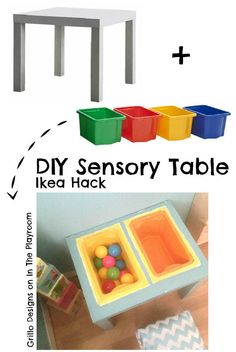Diy Sensory Table Ikea Hack Diy Sensory Table Ikea Hack Amazing And Thrifty Diy Sensory Table Ikea Hack Make Your Own Play Table Quickly And Cheaply Diy Sensory Table Ikea Hack For The Playroom Sensory Table, Baby Sensory, Sensory Bins, Sensory Activities, Infant Activities, Sensory Play, Playroom Organisation, Organisation Ideas, Ikea Playroom