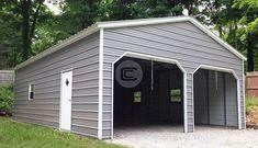 Vertical Roof Side Entry Prefab Garage with Metal Roll up Doors Metal Garage Buildings, Metal Garages, Shop Buildings, Steel Buildings, Pole Buildings, Garage Plans, Shed Plans, Garage Ideas, Carport Plans