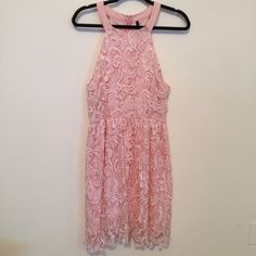 San Joy Lace Coral Midi Dress Size Medium Gorgeous coral lace dress. Never worn. Size medium. Dresses Midi