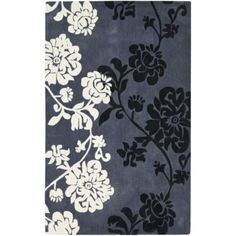 Safavieh Handmade Modern Art Floral Shadows Dark Grey/ Multi Polyester Rug - x (Dark Grey/Multi - x Gray Art Floral, Floral Motif, Floral Theme, Dark Grey Rug, Gray, Polyester Rugs, Art Area, Floral Area Rugs, Rugs