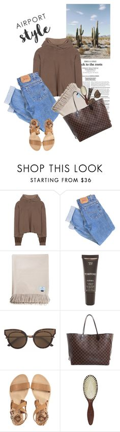 """ridin' through texas"" by rosa-loves-skittles ❤ liked on Polyvore featuring Haider Ackermann, Levi's, Tom Ford, Bottega Veneta, Louis Vuitton, Sol Sana, Christophe Robin and airportstyle"