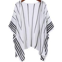 SheIn(sheinside) White Vertical Stripe Loose Kimono ($16) ❤ liked on Polyvore featuring cardigans, kimono, sheinside, tops and white