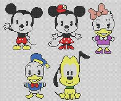 DISNEY cuties free cross stitch pattern...link also has Pooh and friends. (link not in English)
