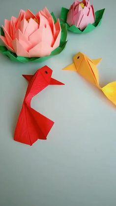 Diy Crafts Hacks, Diy Crafts For Gifts, Diy Arts And Crafts, Creative Crafts, Instruções Origami, Origami Fish, Hair Origami, Origami Elephant, Origami Videos