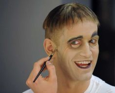 """Tom Corbeil, who plays Lurch in """"The Addams Family,"""" applies makeup to transform himself into character before a show at Proctors on Wednesday, Nov. 2011 in Schenectady, N. Lurch Addams Family, Die Addams Family, Addams Family Costumes, Homemade Halloween Costumes, Family Halloween Costumes, Halloween Couples, Group Halloween, Halloween Ideas, Halloween 2015"""