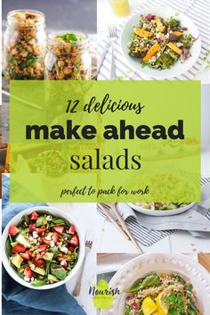 Low Unwanted Fat Cooking For Weightloss 12 Delicious Make Ahead Salads These Healthy, Easy, And Delicious Salad Recipe Ideas Are Perfect To Pack In The Nutrition To Your Lunch At Work Via Nourishnutrico Chicken Salad Recipes, Healthy Salad Recipes, Lunch Recipes, Healthy Food, Delicious Recipes, Healthy Lunches, Easy Recipes, Healthy Life, Diet Recipes