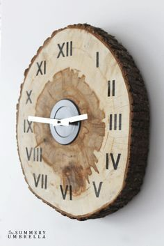 Refurbish an ordinary clock's face with a slice of wood, then reattach the battery and hands.