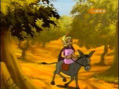 Miss Moon rides a donkey.