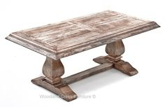 White Wash Cottage Chic Table by Woodland Creek Furniture in Custom Sizes and Colors.