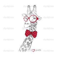 Hand drawn Illustration of Giraffe in Round Glasses — Stock Vector ...