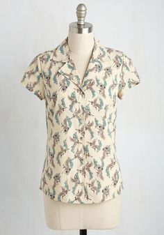 Per Yore Request Top - Novelty Print, Work, Bird, Short Sleeves, Woven, Better, Collared, Mid-length, Cream, Blue, Print with Animals, Buttons, Spring, Summer