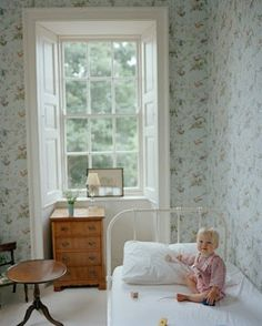 Stella Tennant kid's bedroom with Cole and Son hummingbird wallpaper