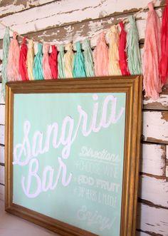 mint chalkboard as sangria bar backdrop - must make this garland