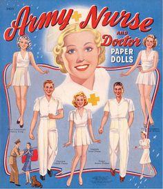 Vintage Army Nurse paper dolls.