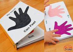 Make a sensory texture book using your child's hand print. Great for your five senses unit using the Our Time to Learn workbook About Me. For preschool, kindergarten, and home school.