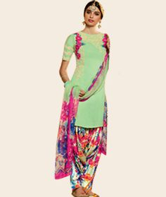 Buy Giselli Monteiro Mint Green Cotton Satin Punjabi Suit 73540 online at lowest price from huge collection of salwar kameez at…