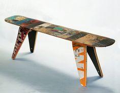 kreative wohnideen wiederverwendete materialien tisch skateboard