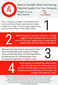 Building and sustaining a competitive team or organization is the mark of a great leader. This does not happen by accident or luck. One must put much thought into the makeup of their team. The overarching question should be how much value do potential candidates bring to the team? #MiekDiamond #GoodToKnow #Leadership #GoodRead