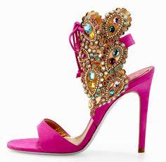 Yummy!!  René Caovilla Embellished High-Heel Ankle-Tie Sandal in fuchsia.
