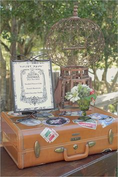 """Toootally going to have my vintage suitcase on the gift table with my """"honeymoon fund"""" jar!"""