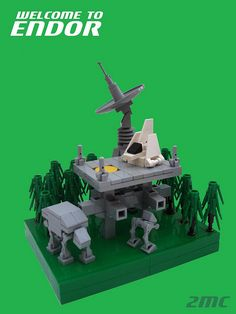 Lego microscale Imperial base on Endor by Rod Gillies.