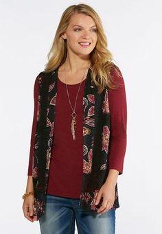 d3cca631a8fa0 Cato Fashions Plus Size Floral Lace Trim Vest