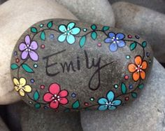 Happy Rock - Emily - Hand-Painted River Rock Stone - purple daisies pansies flowers
