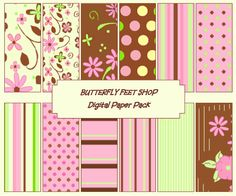 Scrapbooking Digital Paper Pack Pink Green by ButterflyFeetDigital, $2.50