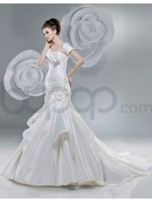 Mermaid Taffeta Delicately Pleated Bodice Softly Curved Neckline Chapel Length Train Wedding Dresses (2201)