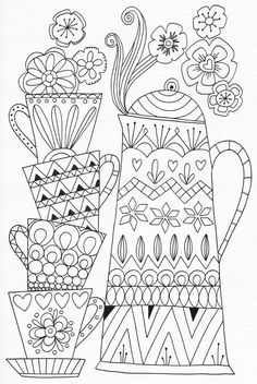 Tea Time zentangle coloring page - #coloring #zentangle - #drawingdecoration
