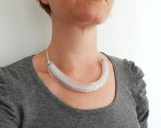 Sparkly statement necklace layered clear glass bib by tline, $55.00