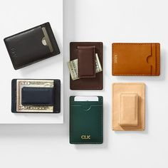 The most minimalist wallet: a durable magnetic clip on one side, slots for a couple cards on the other, all wrapped in soft and supple leather. It also features a slot on the top for business cards or small change and a sleek foil-debossed monogra… Leather Tassel Keychain, Leather Cuffs, Leather Jewelry, Leather Bracelets, Metal Jewelry, Cool Money Clips, Cowgirl Jewelry, Gothic Jewelry, Leather Money Clip Wallet