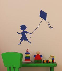 Boy Silhouette Pulling Kite Vinyl Decal - Item 133 #EasyPin