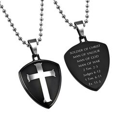 Shield And Cross Necklace For Christian Men $25.95