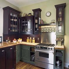Now if you took that sage green for your kitchen with say....some kind of tan or cream backsplash then you could take that same tan or whatever color you choose for your backsplash and paint the living/dining area that color to tie it all together!!!