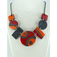 Collier rouge et orange:Pièce unique
