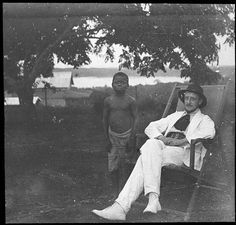 At Léopoldville [graphic] : Emile Gorlia with congolese boy. Judge E. Gorlia's first journey in the Belgian Congo from December 1909 to January 1912.