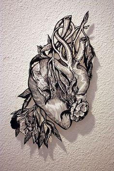 "the-iridescence: "" ""Heart"", Tinta china sobre papel / tusche ink on paper. 20 x 30 cm. 4 Tattoo, Tattoo Drawings, Shadow Tattoo, Mandala Tattoo, Compass Tattoo, Piercings, Arte Black, Neue Tattoos, Tinta China"