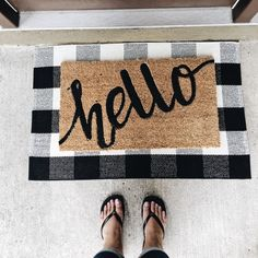 Outdoor Porch Rug - Checkered Door Mat for Layering, Black and White Rug - Outdoor Buffalo Check Door Mat Buffalo Plaid Doormat, Black and White Door Mat - Front Doormat Rug, Door Mats Outside Front Door Mats, Front Door Decor, Outside Door Mats, Outside House Decor, Front Stoop, Front Doors, Cute Dorm Rooms, Cool Rooms, Farmhouse Side Table