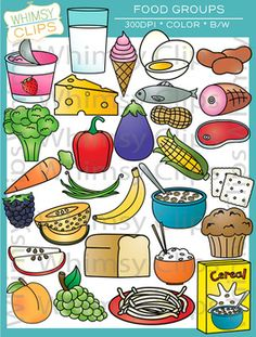 The Food Groups clip art contains 58 image files, which includes 29 color images and 29 black & white images in png and jpg. All images are for better scaling and printing. Health And Physical Education, Nutrition Education, Group Meals, Food Groups, Valentines Day Clipart, Teacher Sites, Food Clipart, Mexican Street Corn, Food Pyramid