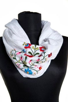 Woman infinity scarf - circle scarf - loop scarf -  hand embroidered - matyo embroidery - white gauze - made to order
