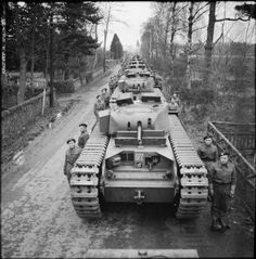 Line-up of Churchill MKIII Tanks of the 16th Tank Brigade ( 1st Polish Corps ) at Blairgowrie, Scotland- Imperial War Museum wwwm.iwm.org.uk.