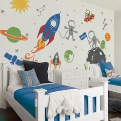 Outer Space Wall Decals by Simple Shapes® Made from our premium removable matte vinyl. Turn your child's room into fun filled outer space experience! Kids Wall Decals, Nursery Wall Decals, Wall Stickers, Simple Shapes, Textured Walls, Outer Space, Decoration, Kids Bedroom, Ikea