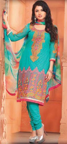 $63.7 Blue Cotton Embroidered Churidar Salwar Suit 26561