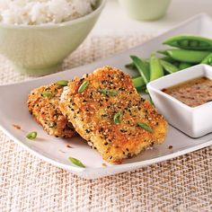 Croustillants de tofu au sésame - 5 ingredients 15 minutes Tofu Recipes, Cooking Recipes, Healthy Recipes, Recipies, Healthy Menu, Healthy Cooking, Vegan Vegetarian, Vegetarian Recipes, Food Porn